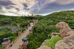 Bridge of Time with view of Monkey Spring Plaza and The Palace